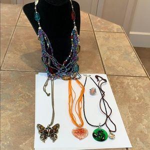 💐5/25 Art glass heart seed bead cord Avon ring